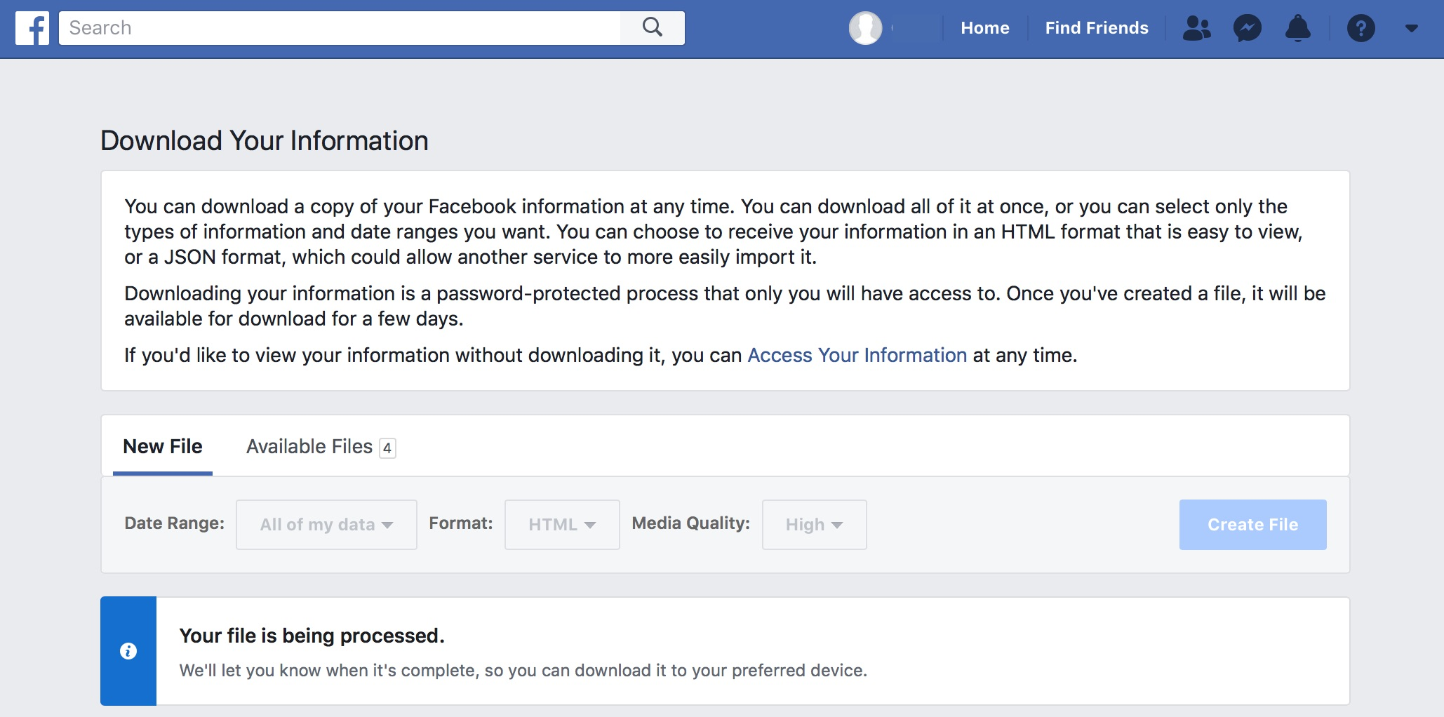 After Requesting Your Facebook Information Download