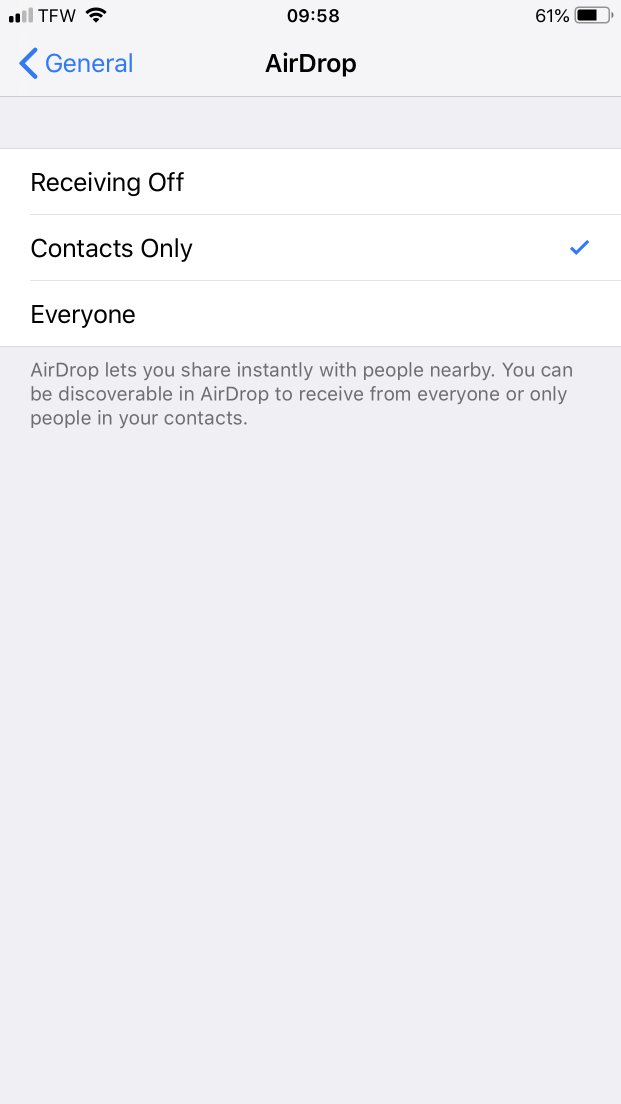 Using Settings to Change the AirDrop Defaults on Your iPhone